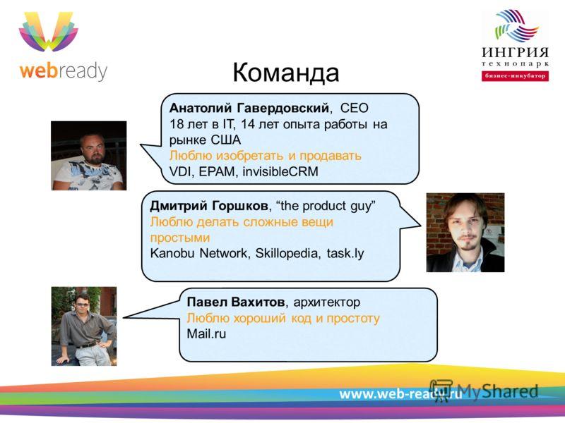 Пример структуры презентации Команда www.web-ready.ru, VDI, EPAM, invisibleCRM Анатолий Гавердовский, CEO 18 лет в IT, 14 лет опыта работы на рынке США Люблю изобретать и продавать VDI, EPAM, invisibleCRM Дмитрий Горшков, the product guy Люблю делать