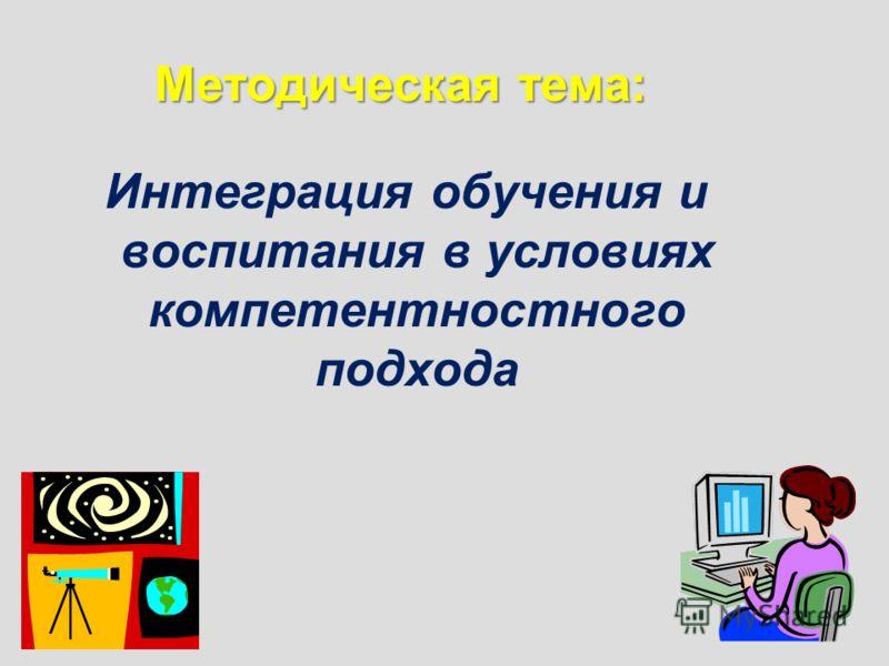 Методическая тема: Интеграция обучения и воспитания в условиях компетентностного подхода