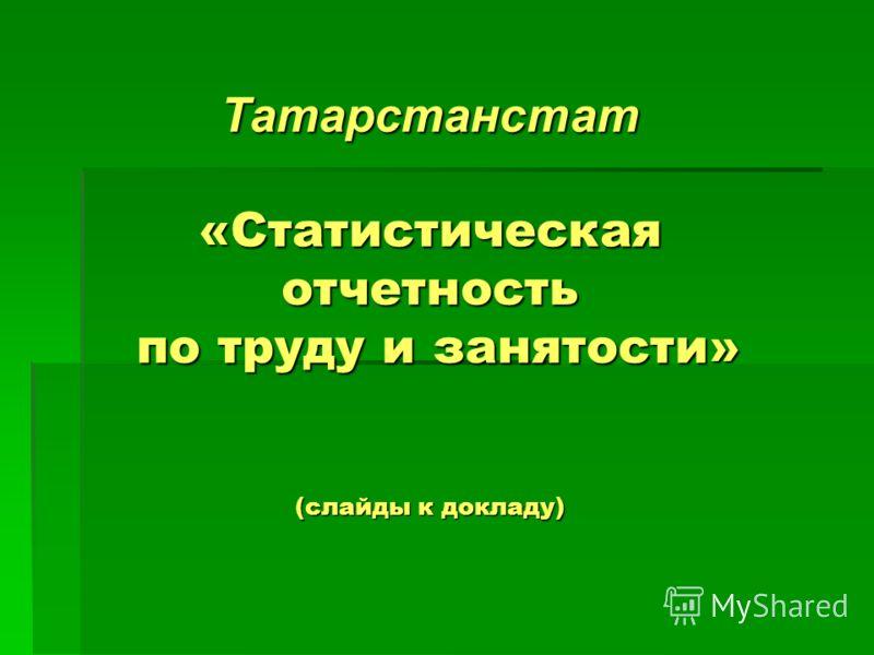 Татарстанстат «Статистическая отчетность по труду и занятости» (слайды к докладу)