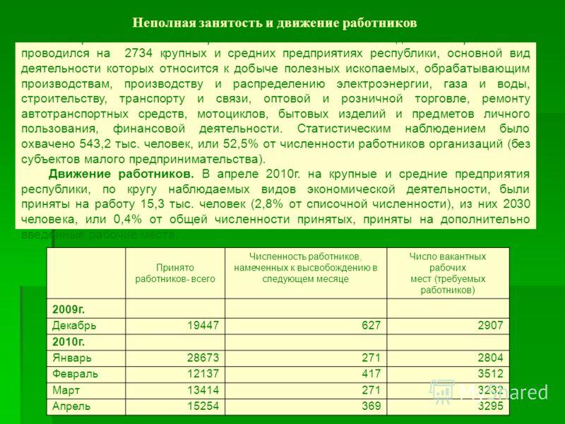 В апреле 2010г. мониторинг неполной занятости и движения работников проводился на 2734 крупных и средних предприятиях республики, основной вид деятельности которых относится к добыче полезных ископаемых, обрабатывающим производствам, производству и р