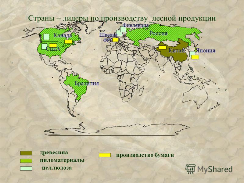 Страны – лидеры по производству лесной продукции древесина пиломатериалы целлюлоза производство бумаги Россия США Канада Бразилия КитайФинляндияЯпония