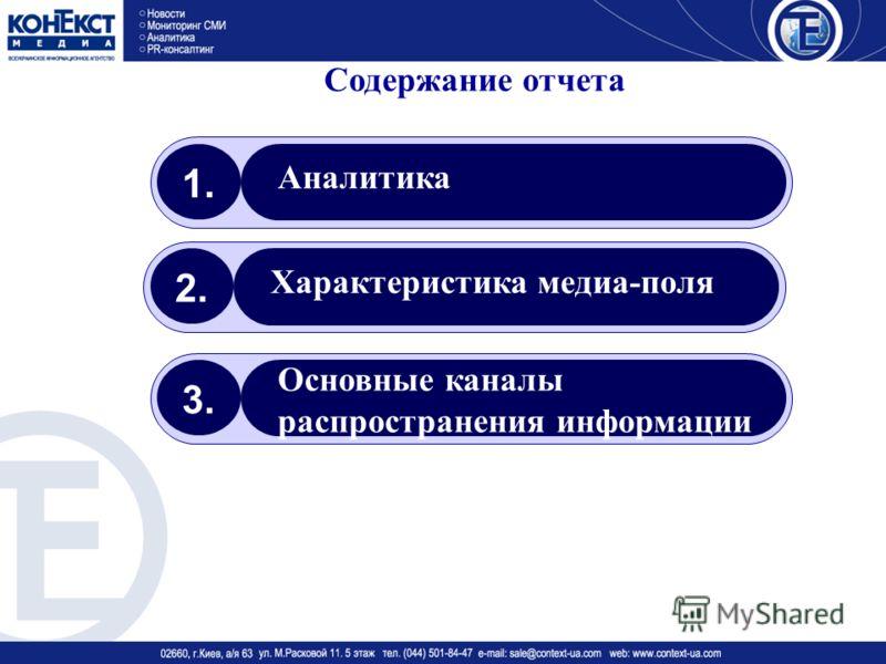 Содержание отчета 1. Аналитика 2. Характеристика медиа-поля 3. Основные каналы распространения информации