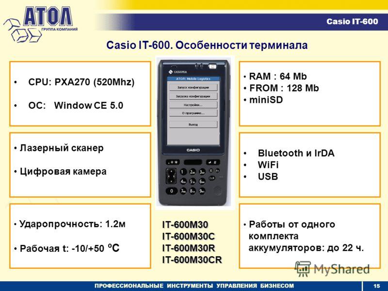 ПРОФЕССИОНАЛЬНЫЕ ИНСТРУМЕНТЫ УПРАВЛЕНИЯ БИЗНЕСОМ CPU: PXA270 (520Mhz) ОС: Window CE 5.0 Ударопрочность: 1.2м Рабочая t: -10/+50 ºC Bluetooth и IrDA WiFi USB RAM : 64 Mb FROM : 128 Mb miniSD Лазерный сканер Цифровая камера Работы от одного комплекта а
