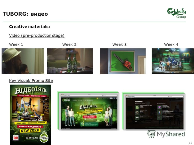 TUBORG: видео Creative materials: Video (pre-production stage) Week 1 Week 2 Week 3 Week 4 Key Visual/ Promo Site 13