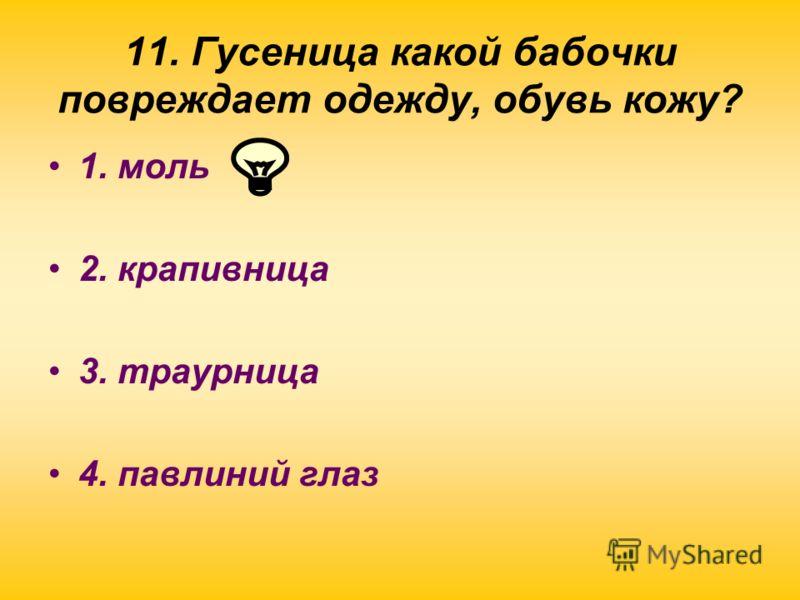 11. Гусеница какой бабочки повреждает одежду, обувь кожу? 1. моль 2. крапивница 3. траурница 4. павлиний глаз