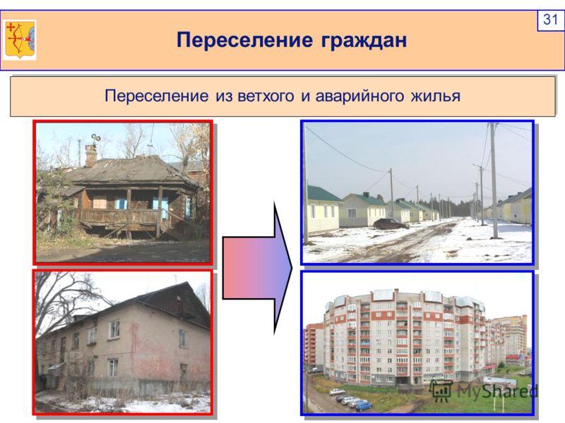 Переселение граждан 31 Переселение из ветхого и аварийного жилья