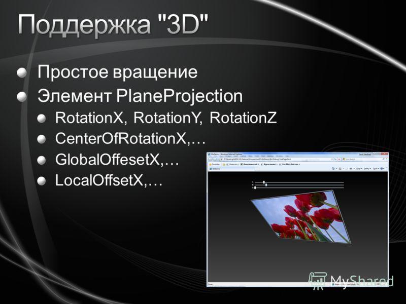 Простое вращение Элемент PlaneProjection RotationX, RotationY, RotationZ CenterOfRotationX,… GlobalOffesetX,… LocalOffsetX,…