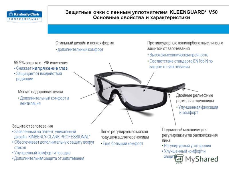 Защитные очки с пенным уплотнителем KLEENGUARD* V50 Основные свойства и характеристики Подвижный механизм для регулировки угла расположения линз Регулируемый угол зрения Улучшенный комфорт и защита Стильный дизайн и легкая форма дополнительный комфор