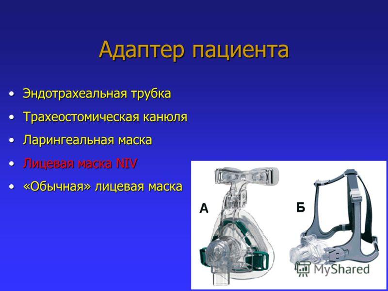Адаптер пациента Эндотрахеальная трубкаЭндотрахеальная трубка Трахеостомическая канюляТрахеостомическая канюля Ларингеальная маскаЛарингеальная маска Лицевая маска NIVЛицевая маска NIV «Обычная» лицевая маска«Обычная» лицевая маска
