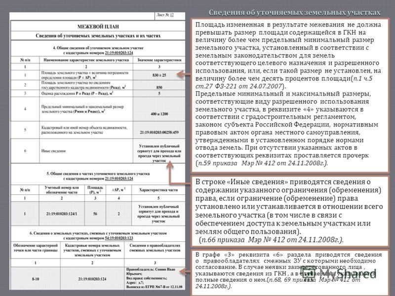 В графе «3» реквизита «6» раздела приводятся сведения о правообладателях смежных ЗУ с которыми необходимо согласование. В случае неявки заинтересованного лица, указываются сведения из ГКН, а в случае явки указываются полные сведения о нем.( п.68, 69
