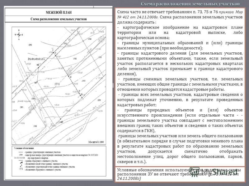 Схема часто не отвечает требованиям п. 73, 75 и 76 приказа Мэр 412 от 24.11.2008 г. Схема расположения земельных участков должна содержать : - картографическое изображение на кадастровом плане территории или на кадастровой выписке, либо картографичес