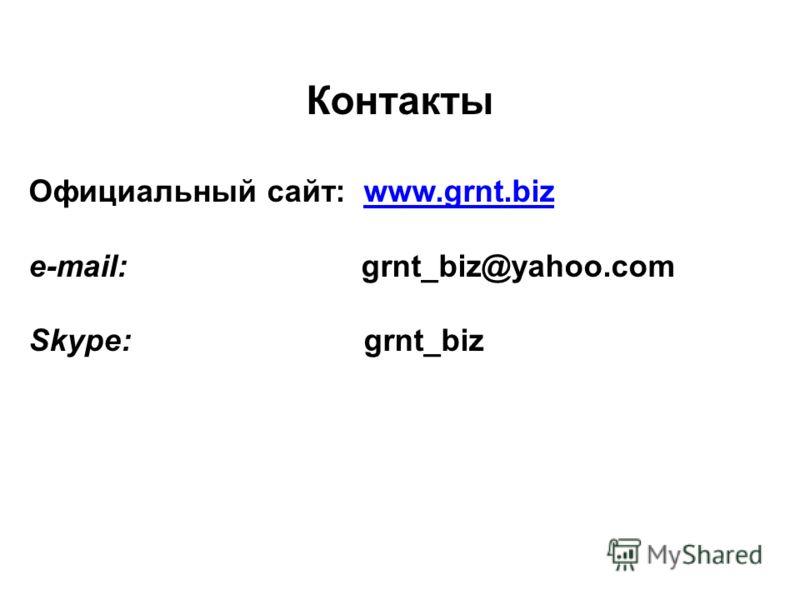 Контакты Официальный сайт: www.grnt.bizwww.grnt.biz e-mail: grnt_biz@yahoo.com Skype: grnt_biz