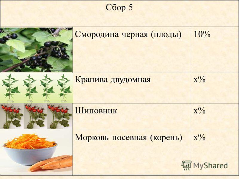 Сбор 5 Смородина черная (плоды)10% Крапива двудомнаях% Шиповникх% Морковь посевная (корень)х%