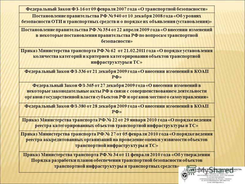Федеральный Закон ФЗ-16 от 09 февраля 2007 года «О транспортной безопасности» Постановление правительства РФ 940 от 10 декабря 2008 года «Об уровнях безопасности ОТИ и транспортных средств и о порядке их объявления (установления)» Постановление прави
