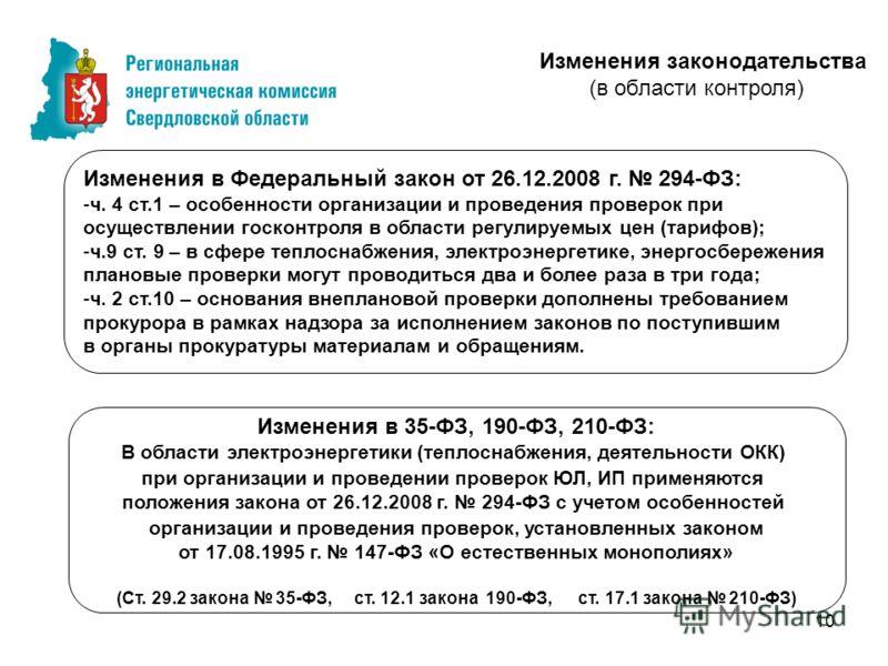 10 Изменения в Федеральный закон от 26.12.2008 г. 294-ФЗ: -ч. 4 ст.1 – особенности организации и проведения проверок при осуществлении госконтроля в области регулируемых цен (тарифов); -ч.9 ст. 9 – в сфере теплоснабжения, электроэнергетике, энергосбе