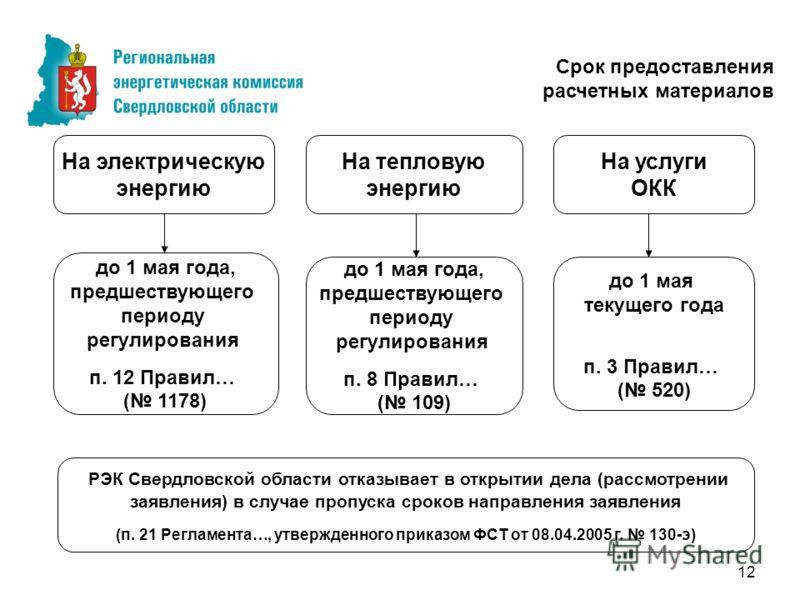12 до 1 мая текущего года п. 3 Правил… ( 520) Срок предоставления расчетных материалов На услуги ОКК до 1 мая года, предшествующего периоду регулирования п. 12 Правил… ( 1178) На электрическую энергию На тепловую энергию до 1 мая года, предшествующег