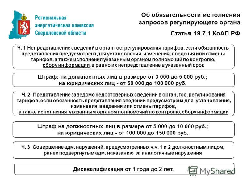 16 Об обязательности исполнения запросов регулирующего органа Статья 19.7.1 КоАП РФ Ч. 1 Непредставление сведений в орган гос. регулирования тарифов, если обязанность представления предусмотрена для установления, изменения, введения или отмены тарифо