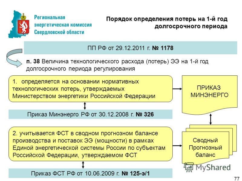 Порядок определения потерь на 1-й год долгосрочного периода ПП РФ от 29.12.2011 г. 1178 п. 38 Величина технологического расхода (потерь) ЭЭ на 1-й год долгосрочного периода регулирования 1.определяется на основании нормативных технологических потерь,
