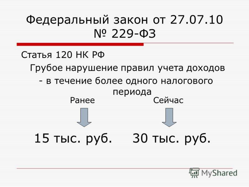Федеральный закон от 27.07.10 229-ФЗ Статья 120 НК РФ Грубое нарушение правил учета доходов - в течение более одного налогового периода 15 тыс. руб.30 тыс. руб. СейчасРанее