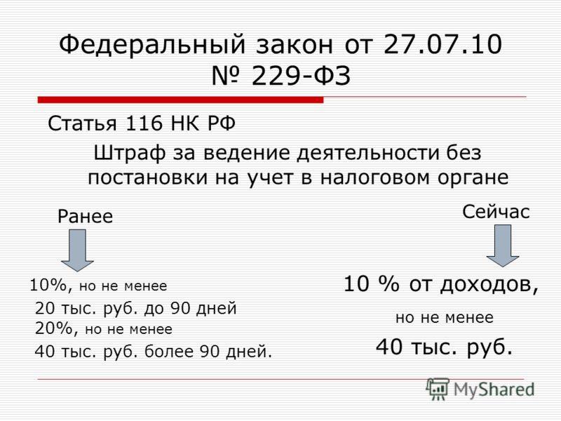 Федеральный закон от 27.07.10 229-ФЗ Статья 116 НК РФ Штраф за ведение деятельности без постановки на учет в налоговом органе 10%, но не менее 20 тыс. руб. до 90 дней 20%, но не менее 40 тыс. руб. более 90 дней. 10 % от доходов, но не менее 40 тыс. р