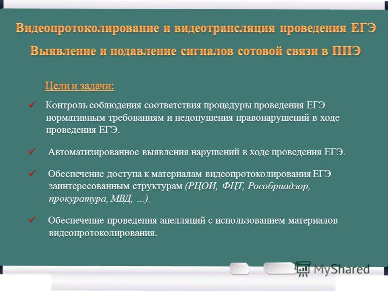 Контроль соблюдения соответствия процедуры проведения ЕГЭ Контроль соблюдения соответствия процедуры проведения ЕГЭ нормативным требованиям и недопущения правонарушений в ходе нормативным требованиям и недопущения правонарушений в ходе проведения ЕГЭ
