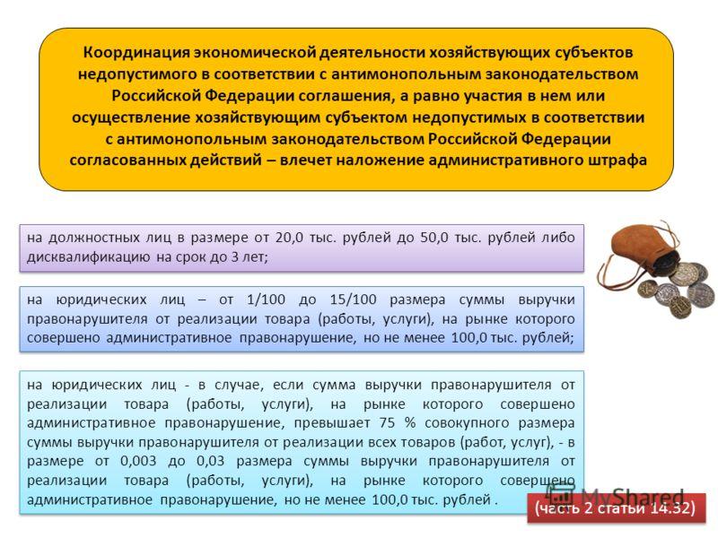 на должностных лиц в размере от 20,0 тыс. рублей до 50,0 тыс. рублей либо дисквалификацию на срок до 3 лет; на юридических лиц – от 1/100 до 15/100 размера суммы выручки правонарушителя от реализации товара (работы, услуги), на рынке которого соверше