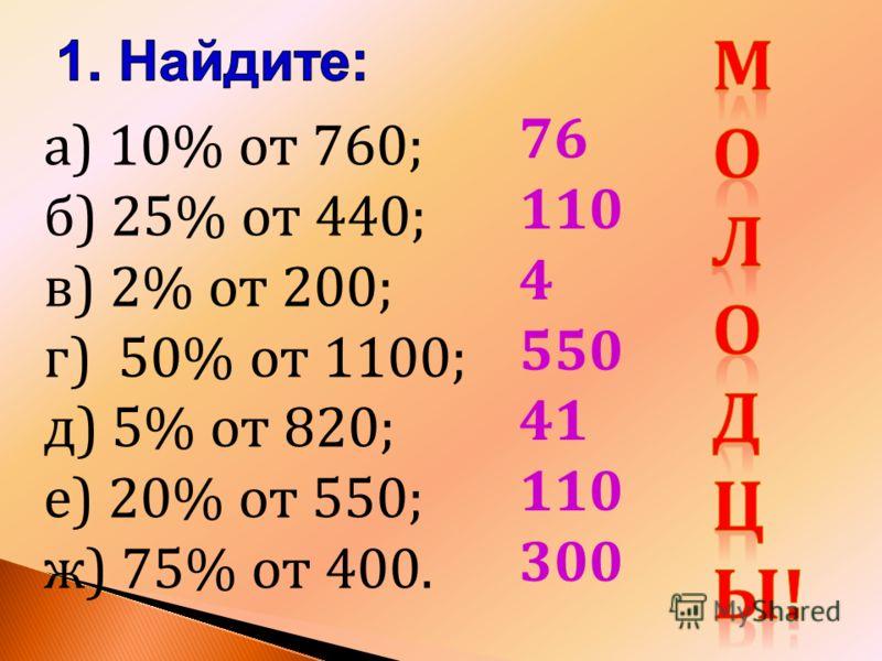 а) 10% от 760; б) 25% от 440; в) 2% от 200; г) 50% от 1100; д) 5% от 820; е) 20% от 550; ж) 75% от 400. 76 110 4 550 41 110 300
