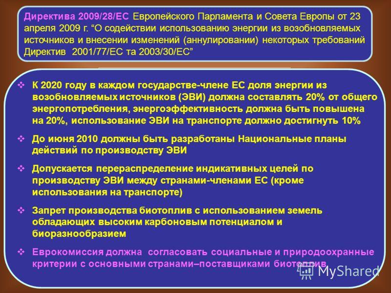 Директива 2009/28/ЕС Европейского Парламента и Совета Европы от 23 апреля 2009 г. О содействии использованию энергии из возобновляемых источников и внесении изменений (аннулировании) некоторых требований Директив 2001/77/ЕС та 2003/30/ЕС К 2020 году