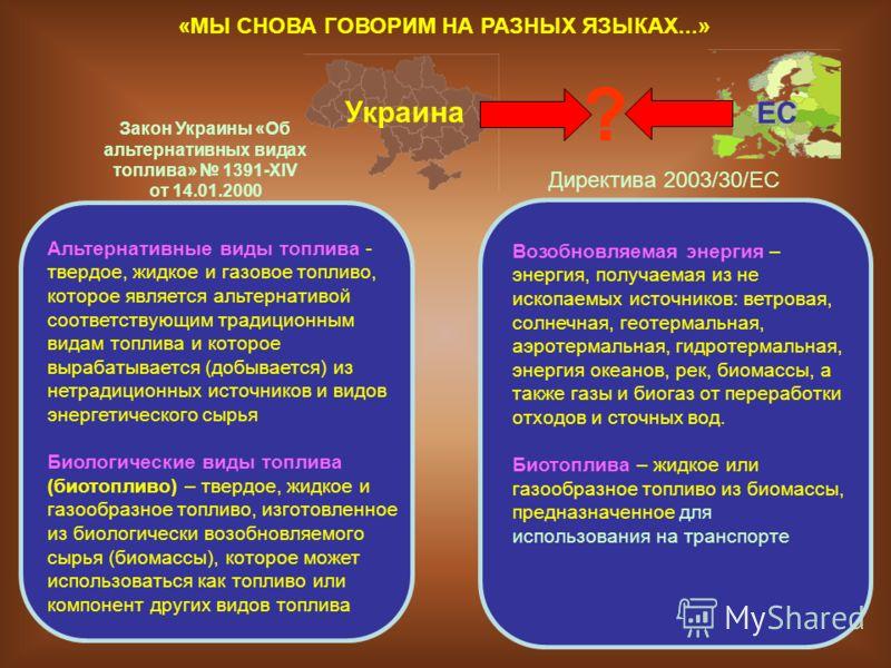 Украина Альтернативные виды топлива - твердое, жидкое и газовое топливо, которое является альтернативой соответствующим традиционным видам топлива и которое вырабатывается (добывается) из нетрадиционных источников и видов энергетического сырья Биолог