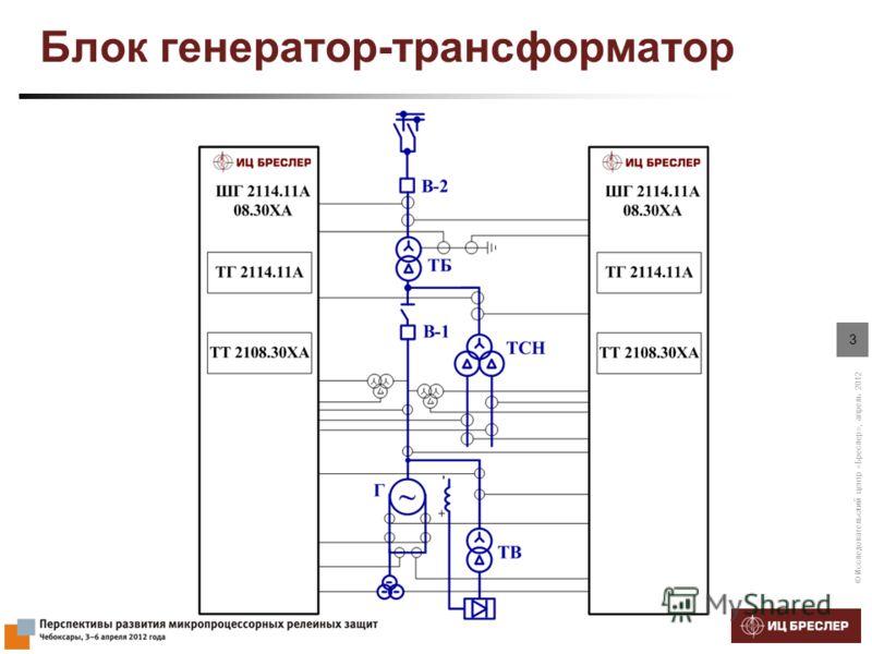 © Исследовательский центр «Бреслер», апрель 2012 3 Блок генератор-трансформатор