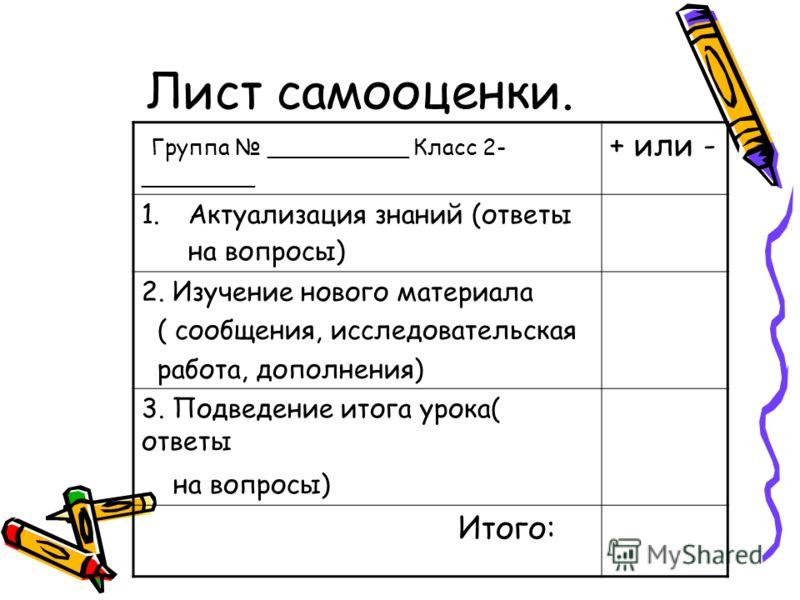 Лист самооценки. Группа __________ Класс 2- ________ + или - 1.Актуализация знаний (ответы на вопросы) 2. Изучение нового материала ( сообщения, исследовательская работа, дополнения) 3. Подведение итога урока( ответы на вопросы) Итого: