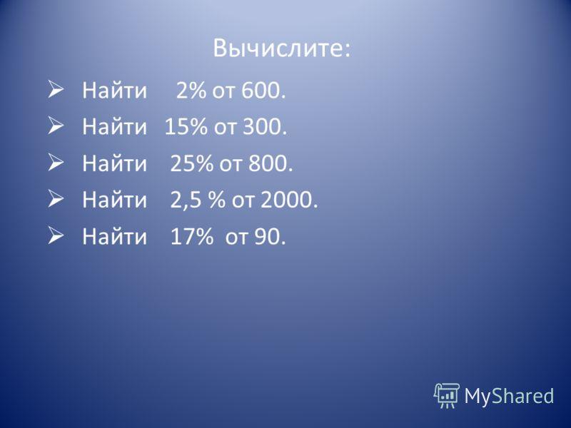 Вычислите: Найти 2% от 600. Найти 15% от 300. Найти 25% от 800. Найти 2,5 % от 2000. Найти 17% от 90.
