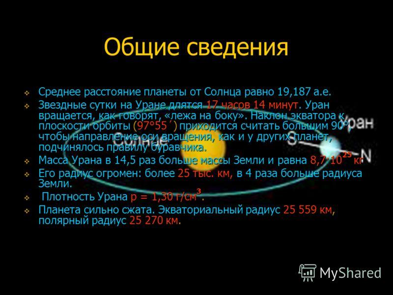 Общие сведения Среднее расстояние планеты от Солнца равно 19,187 а.е. Среднее расстояние планеты от Солнца равно 19,187 а.е. Звездные сутки на Уране длятся 17 часов 14 минут. Уран вращается, как говорят, «лежа на боку». Наклон экватора к плоскости ор
