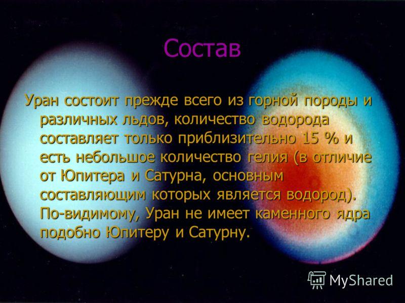 Состав Уран состоит прежде всего из горной породы и различных льдов, количество водорода составляет только приблизительно 15 % и есть небольшое количество гелия (в отличие от Юпитера и Сатурна, основным составляющим которых является водород). По-види
