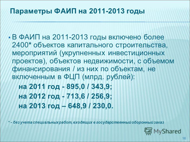16 Параметры ФАИП на 2011-2013 годы В ФАИП на 2011-2013 годы включено более 2400* объектов капитального строительства, мероприятий (укрупненных инвестиционных проектов), объектов недвижимости, с объемом финансирования / из них по объектам, не включен