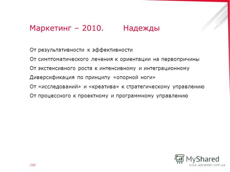 www.advanter.com.ua/16/ Маркетинг – 2010. Надежды От результативности к эффективности От симптоматического лечения к ориентации на первопричины От экстенсивного роста к интенсивному и интеграционному Диверсификация по принципу «опорной ноги» От «иссл