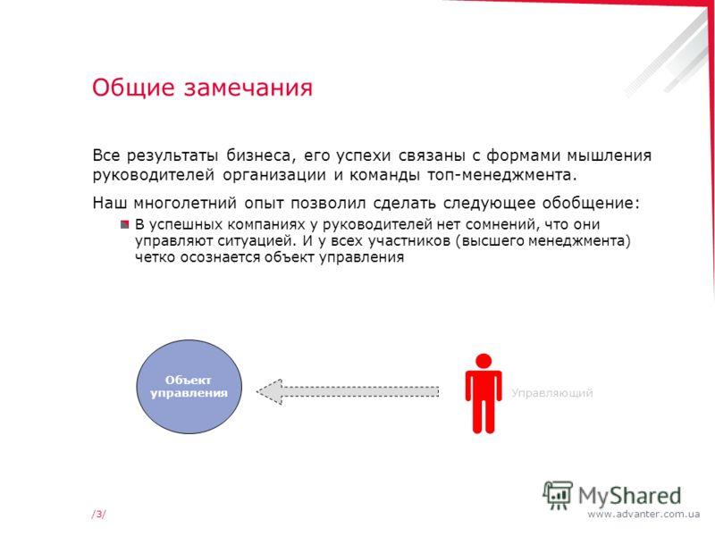 www.advanter.com.ua/3//3/ Общие замечания Все результаты бизнеса, его успехи связаны с формами мышления руководителей организации и команды топ-менеджмента. Наш многолетний опыт позволил сделать следующее обобщение: В успешных компаниях у руководител