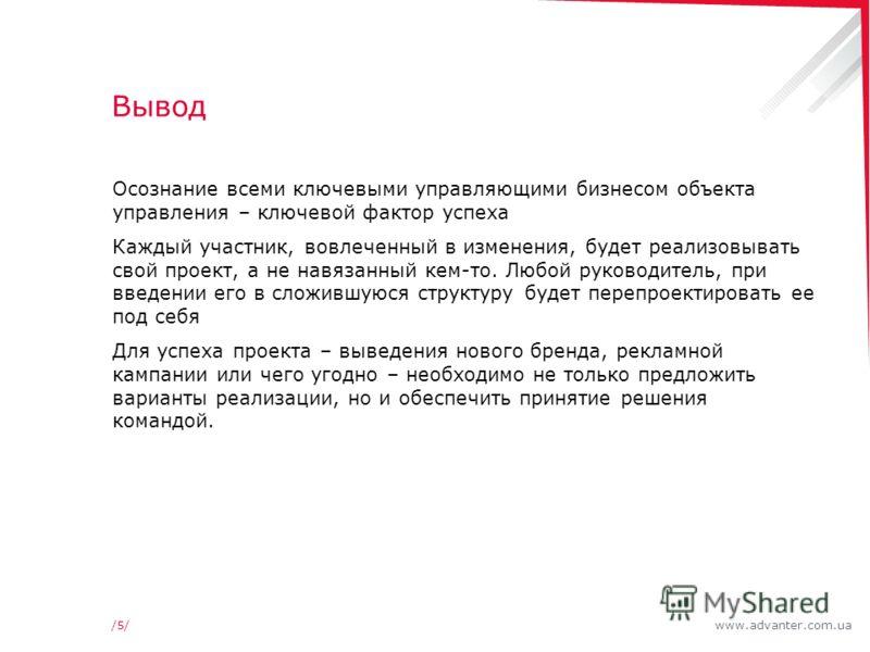 www.advanter.com.ua/5//5/ Вывод Осознание всеми ключевыми управляющими бизнесом объекта управления – ключевой фактор успеха Каждый участник, вовлеченный в изменения, будет реализовывать свой проект, а не навязанный кем-то. Любой руководитель, при вве