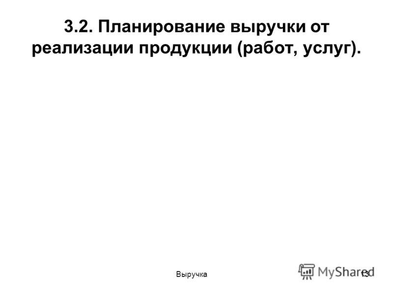 Выручка13 3.2. Планирование выручки от реализации продукции (работ, услуг).