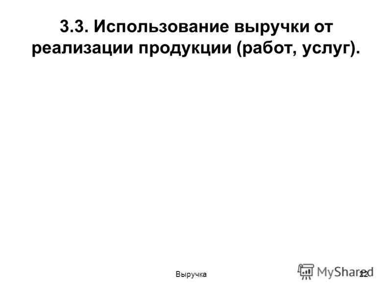 Выручка22 3.3. Использование выручки от реализации продукции (работ, услуг).