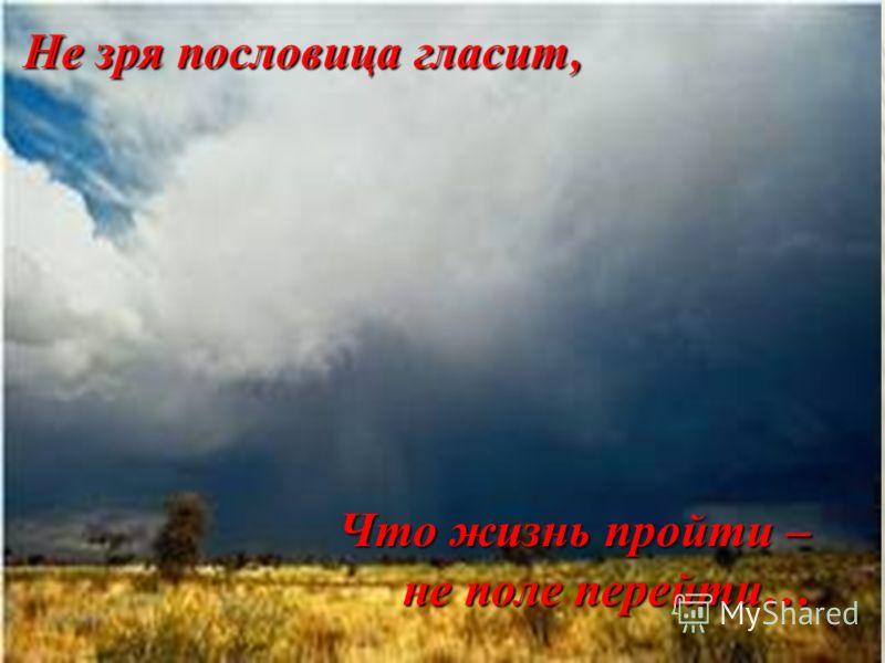 Что жизнь пройти – не поле перейти…
