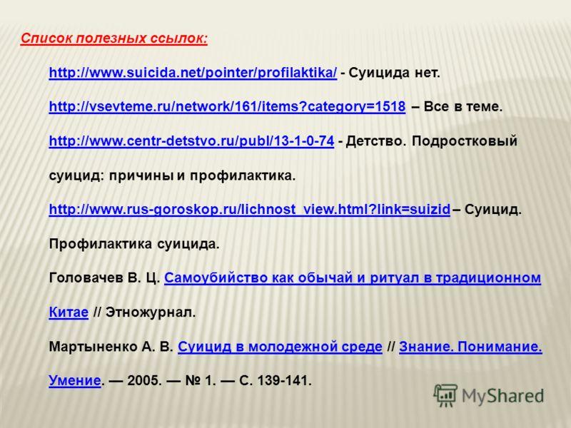 Список полезных ссылок: http://www.suicida.net/pointer/profilaktika/http://www.suicida.net/pointer/profilaktika/ - Суицида нет. http://vsevteme.ru/network/161/items?category=1518http://vsevteme.ru/network/161/items?category=1518 – Все в теме. http://