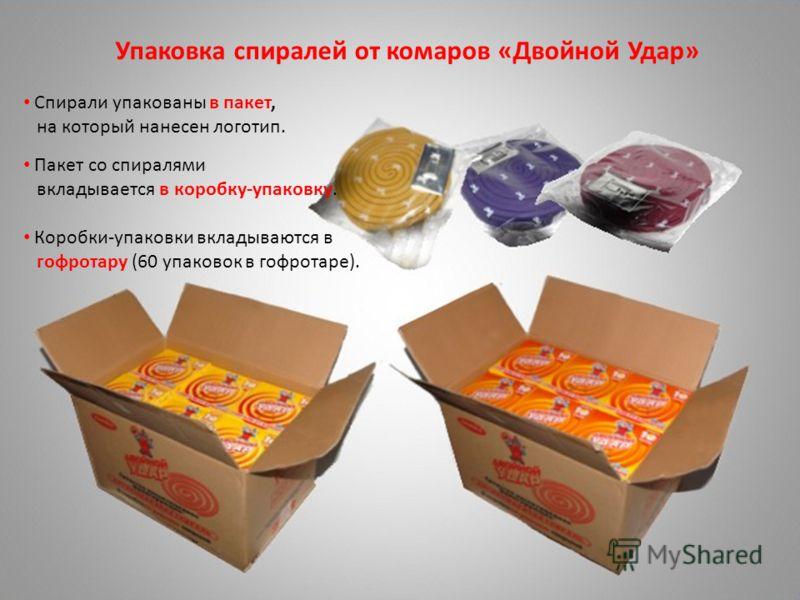 Упаковка спиралей от комаров «Двойной Удар» Спирали упакованы в пакет, на который нанесен логотип. Пакет со спиралями вкладывается в коробку-упаковку. Коробки-упаковки вкладываются в гофротару (60 упаковок в гофротаре).