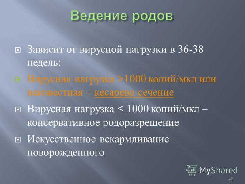 36 Зависит от вирусной нагрузки в 36-38 недель : Вирусная нагрузка >1000 копий / мкл или неизвестная – кесарево сечение Вирусная нагрузка < 1000 копий / мкл – консервативное родоразрешение Искусственное вскармливание новорожденного