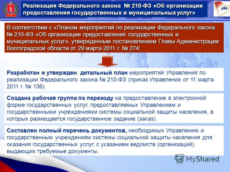 В соответствии с «Планом мероприятий по реализации Федерального закона 210-ФЗ «Об организации предоставления государственных и муниципальных услуг», утвержденным постановлением Главы Администрации Волгоградской области от 29 марта 2011 г. 274: Разраб