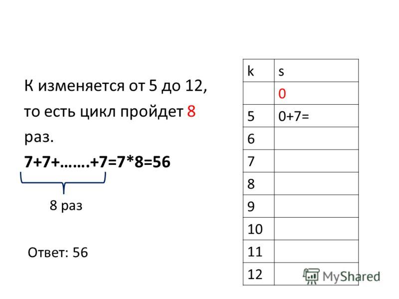К изменяется от 5 до 12, то есть цикл пройдет 8 раз. 7+7+…….+7=7*8=56 ks 0 50+7= 6 7 8 9 10 11 12 8 раз Ответ: 56