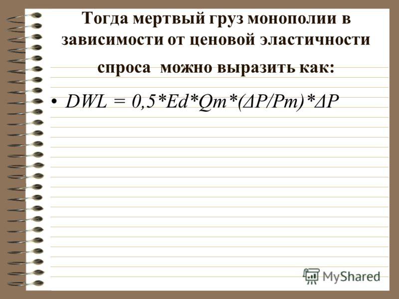 Тогда мертвый груз монополии в зависимости от ценовой эластичноcти спроса можно выразить как: DWL = 0,5*Ed*Qm*(ΔP/Pm)*ΔP