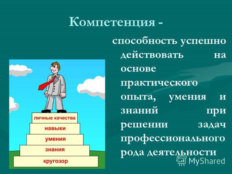 Компетенция - способность успешно действовать на основе практического опыта, умения и знаний при решении задач профессионального рода деятельности