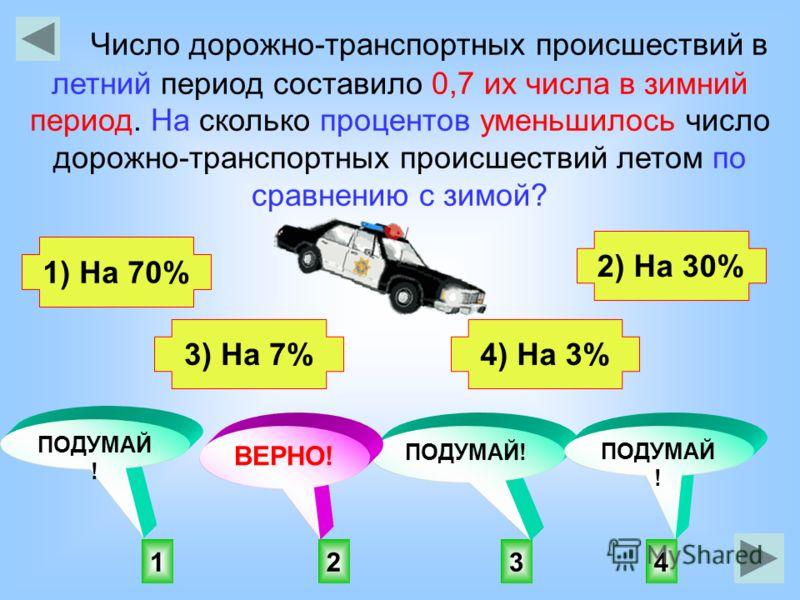 2143 ПОДУМАЙ ! ВЕРНО! ПОДУМАЙ ! Число дорожно-транспортных происшествий в летний период составило 0,7 их числа в зимний период. На сколько процентов уменьшилось число дорожно-транспортных происшествий летом по сравнению с зимой? 1) На 70% 3) На 7% 2)