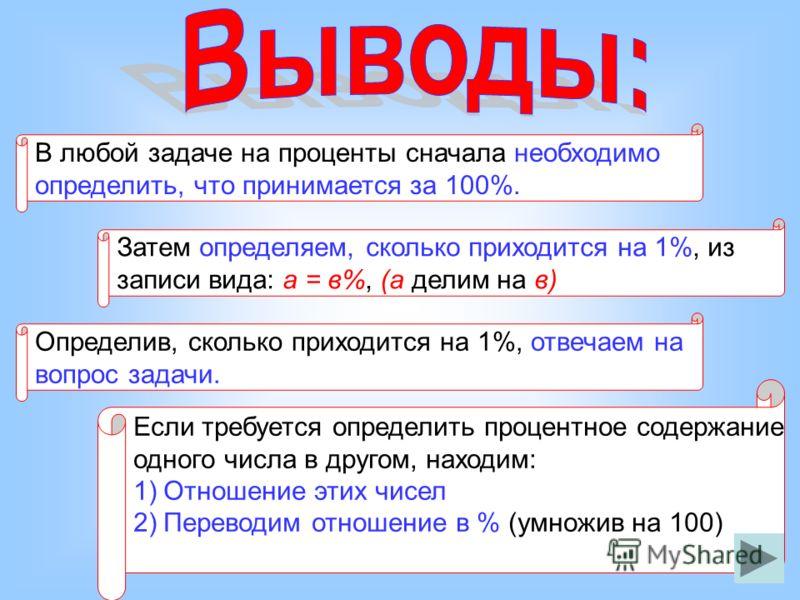 В любой задаче на проценты сначала необходимо определить, что принимается за 100%. Затем определяем, сколько приходится на 1%, из записи вида: а = в%, (а делим на в) Определив, сколько приходится на 1%, отвечаем на вопрос задачи. Если требуется опред